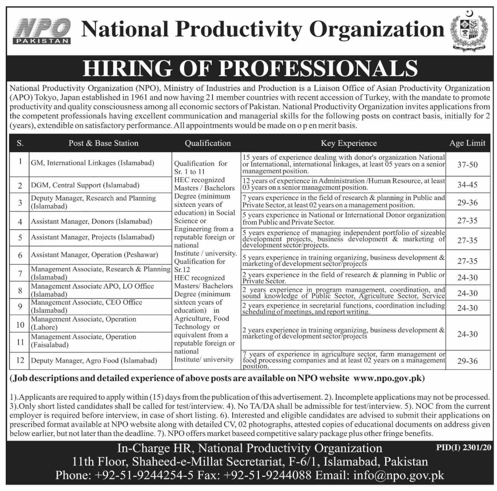 National Productivity Organization NPO November Jobs in Pakistan