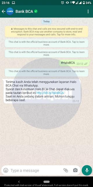Cara menghubungi Halo BCA via WhatsApp