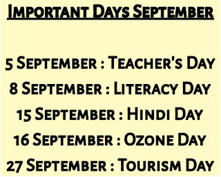 Important dates in September