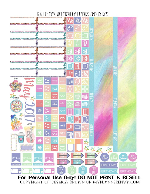 Free Printable May 2017 Monthly Headers and Extras for the Big Happy Planner from myplannerenvy.com