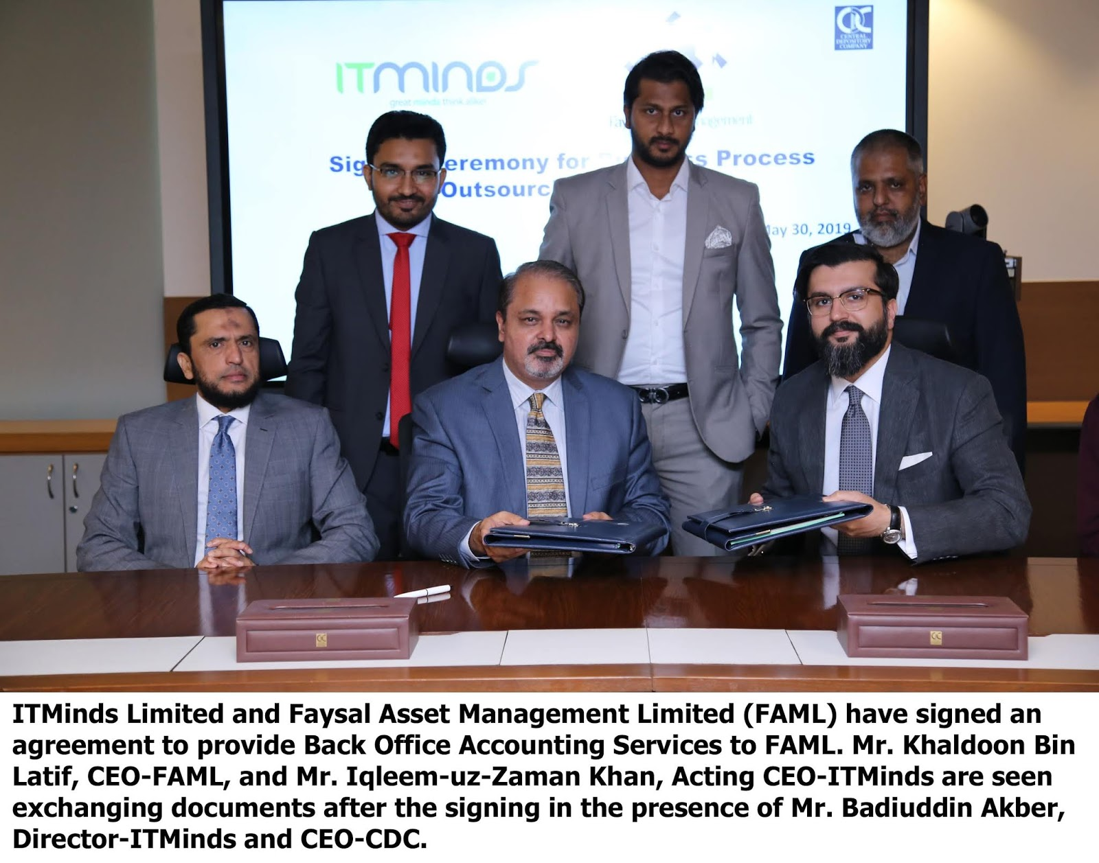 ITMinds Limited and Faysal Asset Management Limited sign agreement for outsourcing Back Office Accounting Services