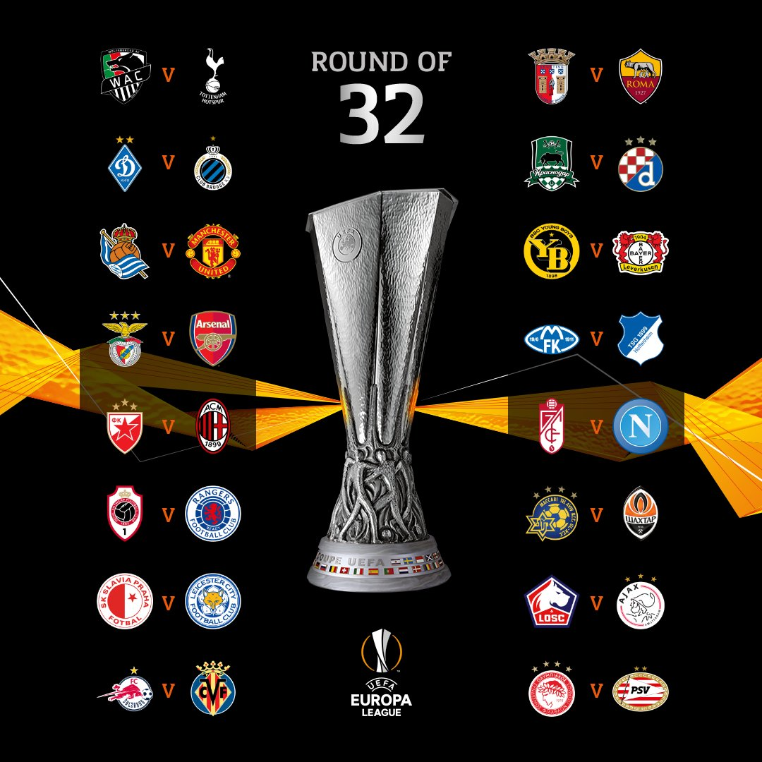 Man United Face Sociedad, Arsenal Play Benfica in Europa Last 32 [FULL DRAW] #Arewapublisize