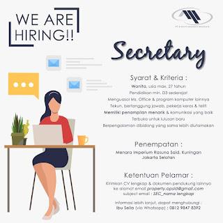 Info Lowongan Kerja Sekretaris APSID Jakarta