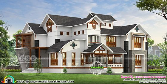 Contemporary mix traditional 5 bedroom house design