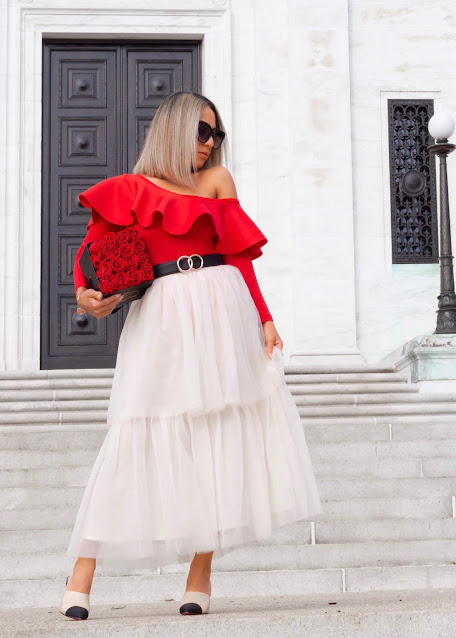 cold shoulder red top with tulle skirt