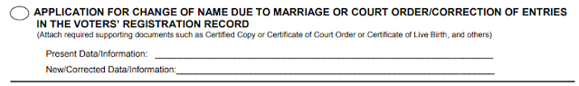 COMELEC Voters Application for Change of Name due to Marriage