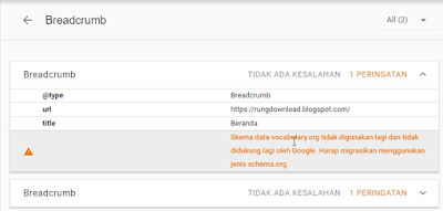 schema data-vocabulary.org tidak digunakan lagi dan tidak didukung lagi oleh Google
