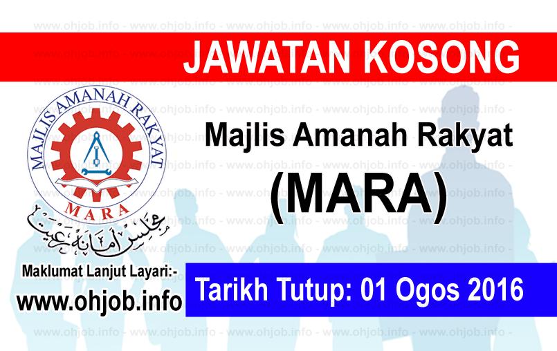 Jawatan Kerja Kosong Majlis Amanah Rakyat (MARA) logo www.ohjob.info ogos 2016
