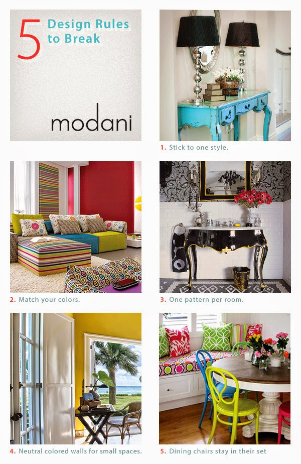 breaking design rules, modani, modern furniture