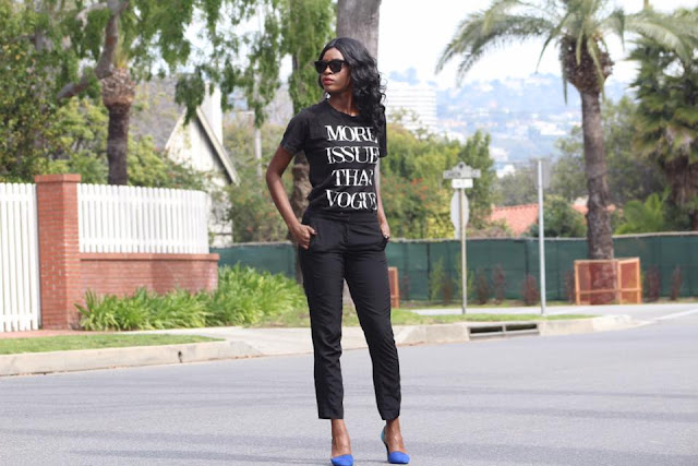 Wearing my beloved more issues than vogue shirt and celine sunglasses.  Just glad that my uterine fibroids are no longer an issue.
