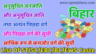 BC1 Caste List in Bihar 2021B, BC2 Caste List in Bihar 2021, List of Scheduled Caste in Bihar, ews caste list in bihar