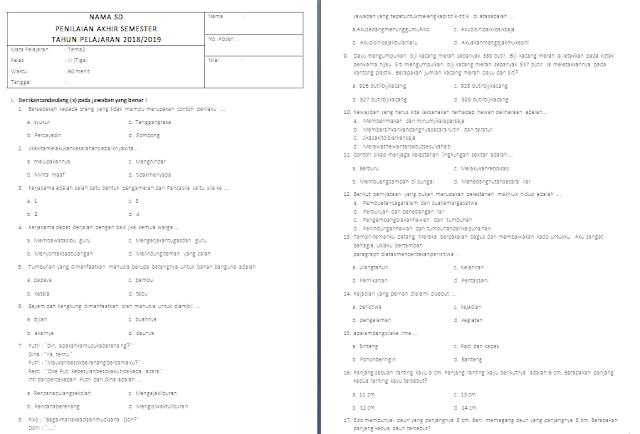 Soal PAS Kelas 3 SD/MI: Tema 3