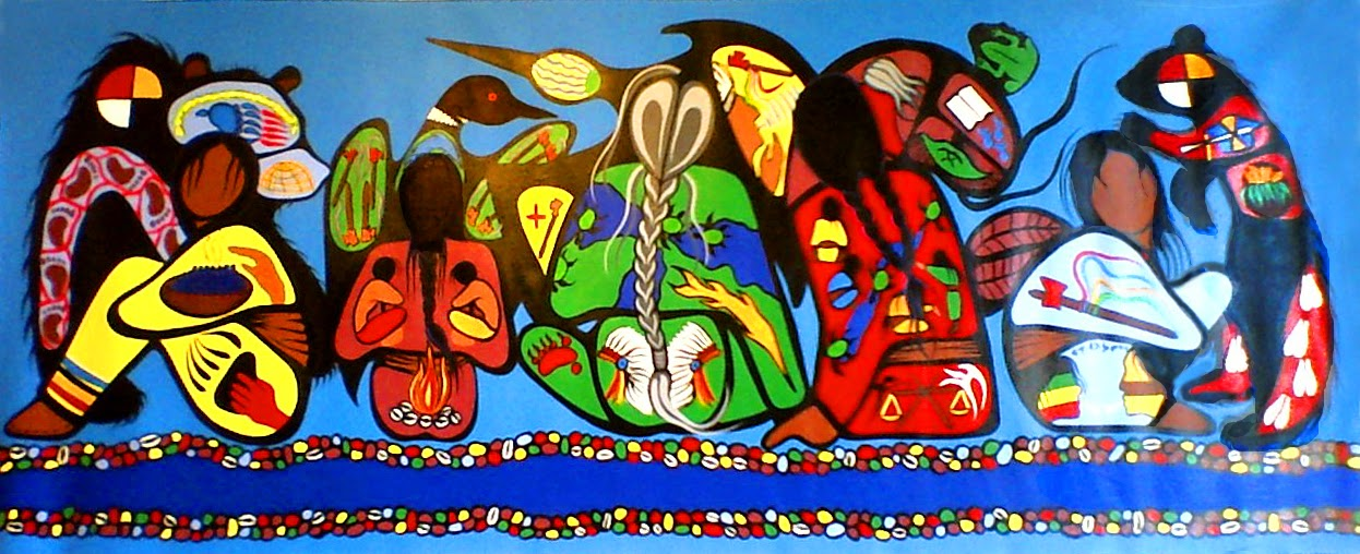Painting of the Gathering Of The Five Major Clans of the Anishinaabe at Baawiting by Aki-egwaniid/Simone McLeod