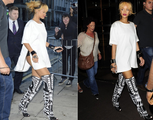 fc0287ce4e8 Pow!  Check out Rihanna in thigh- high Tom Ford boots in London