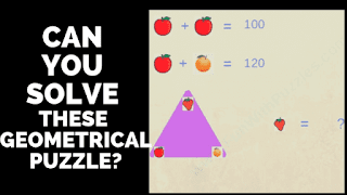 Solve the mathematical equations and make geometrical calculations to solve these maths picture puzzles brainteasers