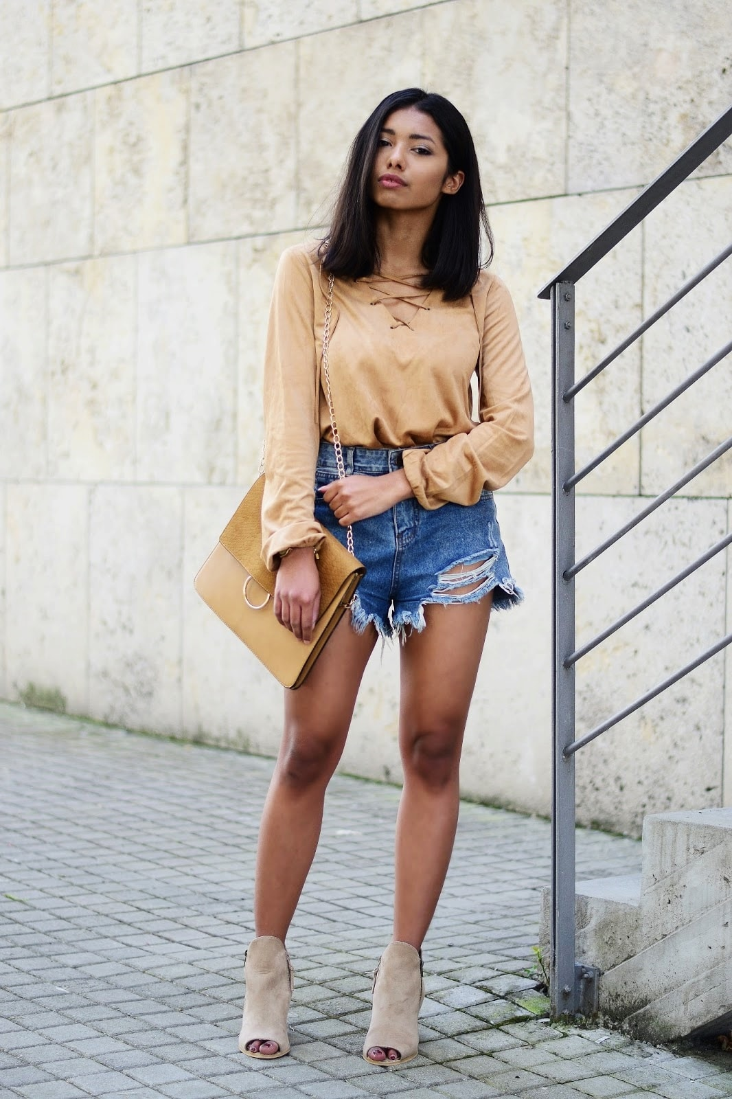 lace-up blouse outfit