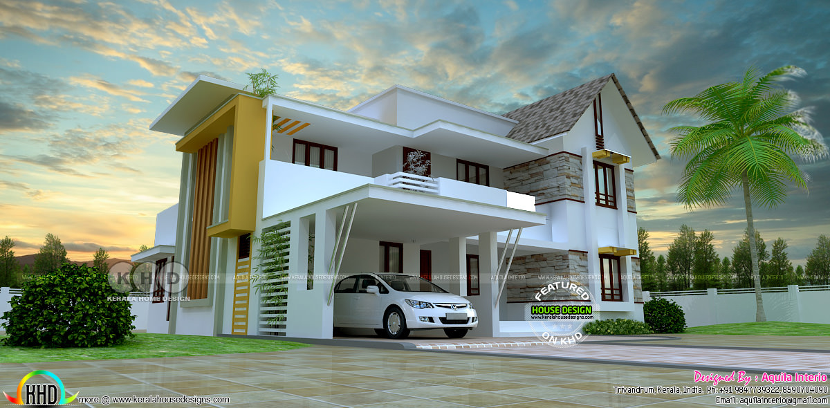 4 Bedroom Mixed Roof Home Part - 27: No. Of Bedrooms : 4. Design Style : Modern Mixed Roof. House Facilities.  Read More » Please Follow Kerala Home Design