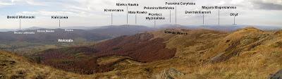 Panorama północno-zachodnia z Tarnicy.