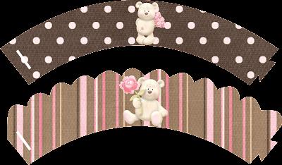 Wrappers para cupcakes de Osito con Rosas.