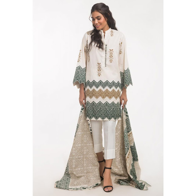 Gul Ahmed light beig color suits ready to wear solids collection
