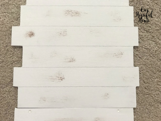 white shiplap dry brush distressed sign