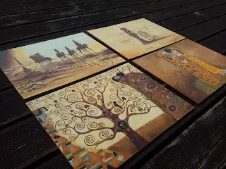 Recznie malowane na drewnie podkladki pod talerze malarstwo wzory