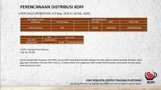 Perencanaan distribusi dan patokan harga token KOPI.
