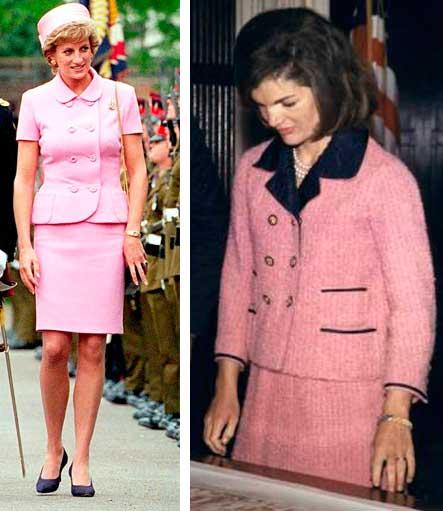 Diana princesa e Jacqueline Kennedy look rosa