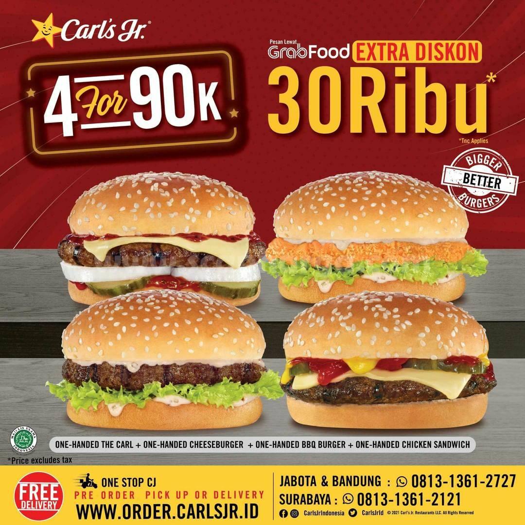 Carl's Jr Promo Extra Diskon Rp. 30.000 untuk pemesanan via Grabfood