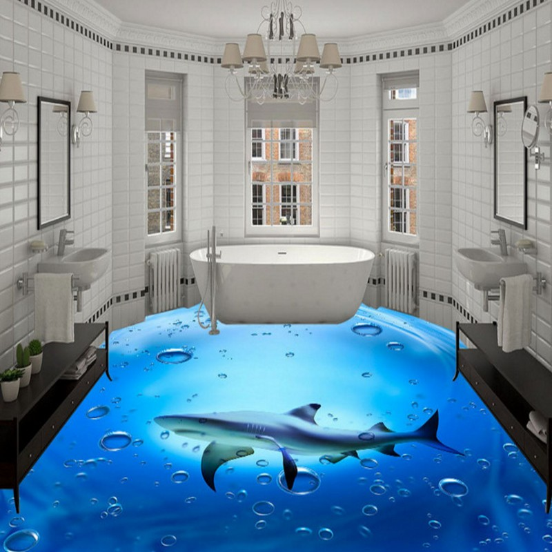 Amazing 3d flooring art 3d epoxy floor murals installation for Bathroom floor mural