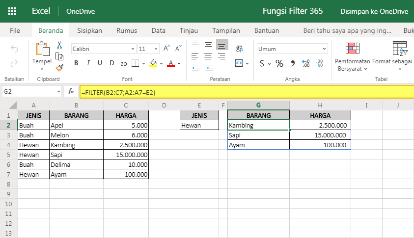 Fungsi Filter Excel Online