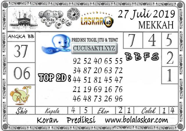 Prediksi Togel MEKKAH LASKAR4D 27 JULI 2019