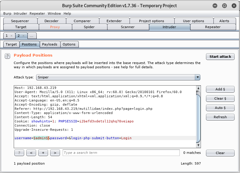 OWASP SQL Injection – Authentication bypass using BurpSuite
