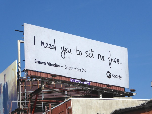 Spotify I need you to set me free Shawn Mendes billboard