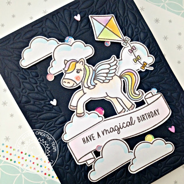 Sunny Studio Stamps: Blooming Frame Dies Prancing Pegasus Spring Showers Banner Basics Happy Birthday Card by Franci Vignoli