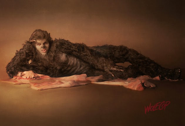 Wolfcop modeling before the infamous sex scene showing us his wolf dork