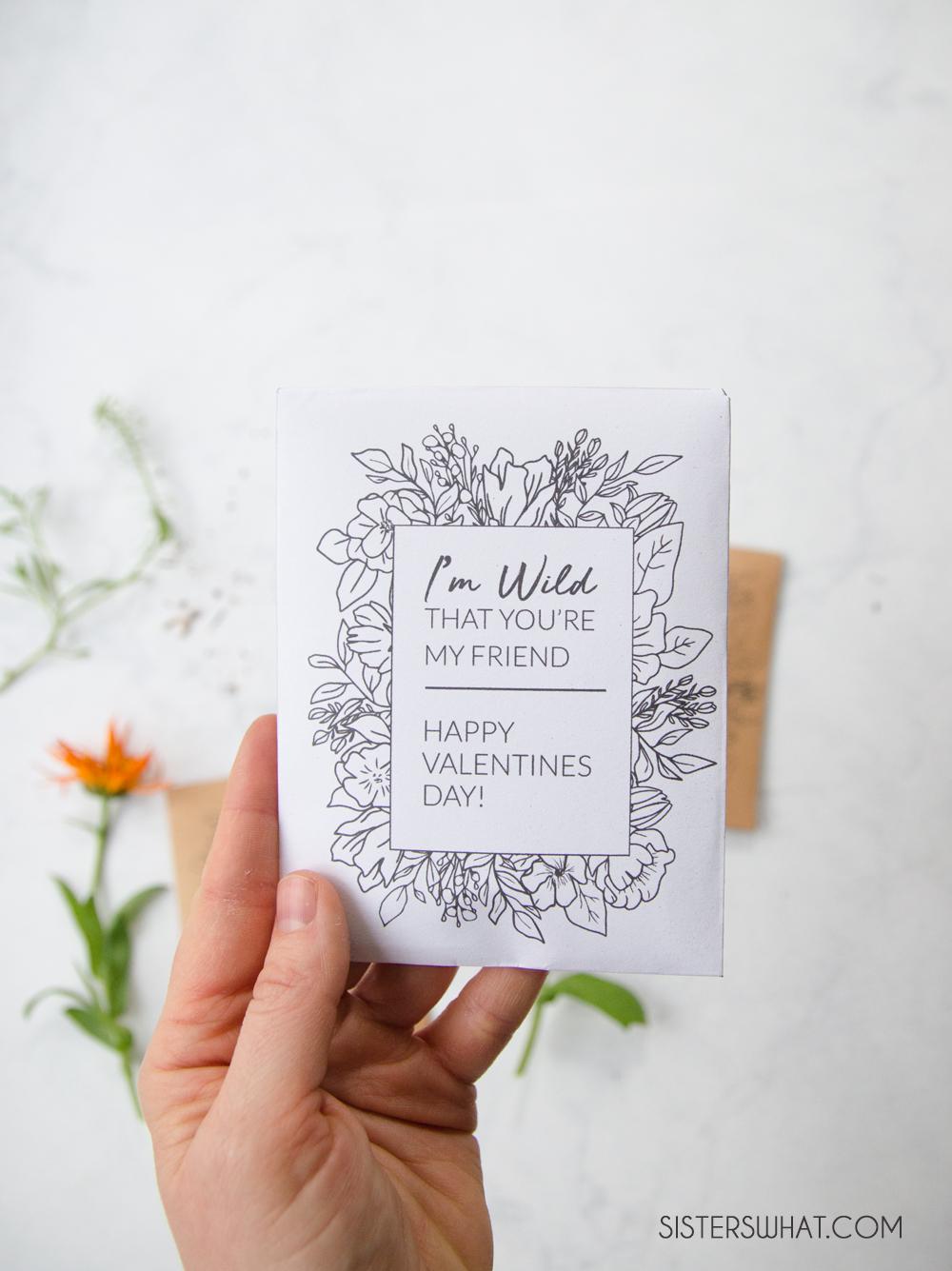 printable wildflower valentine gardener valentine