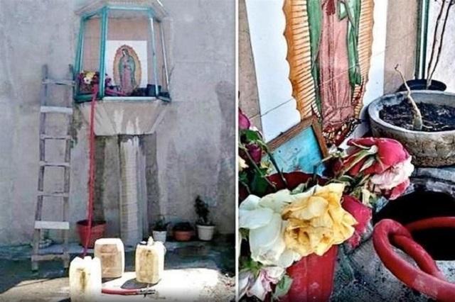Toma clandestina y altar a la Virgen
