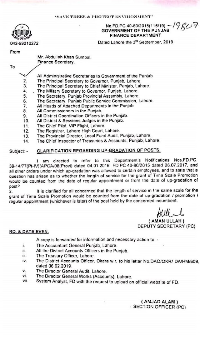 CLARIFICATION REGARDING TIME SCALE PROMOTION FROM THE DATE OF REGULAR APPOINTMENT OR UP-GRADATION OF POST