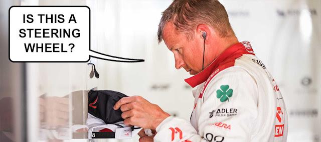 "Raikkonen looking at his hat saying ""Is this a steering wheel?"""