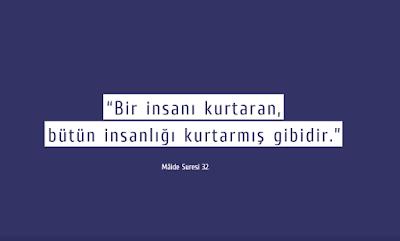 """""""Bir insanı kurtaran, bütün insanlığı kurtarmış gibidir."""" (Mâide Suresi 32), ayet, günün ayeti, Kur'an"""