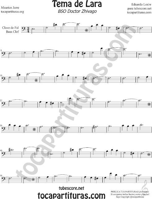 Tema de Lara Partitura en Clave de Fa para Fagot, Trombón Tuba (8ª baja), Bombardino, Violonchelo... Dr Zhivago Lara's Theme Sheet Music for trombone, cello, bassoon, euphonium...