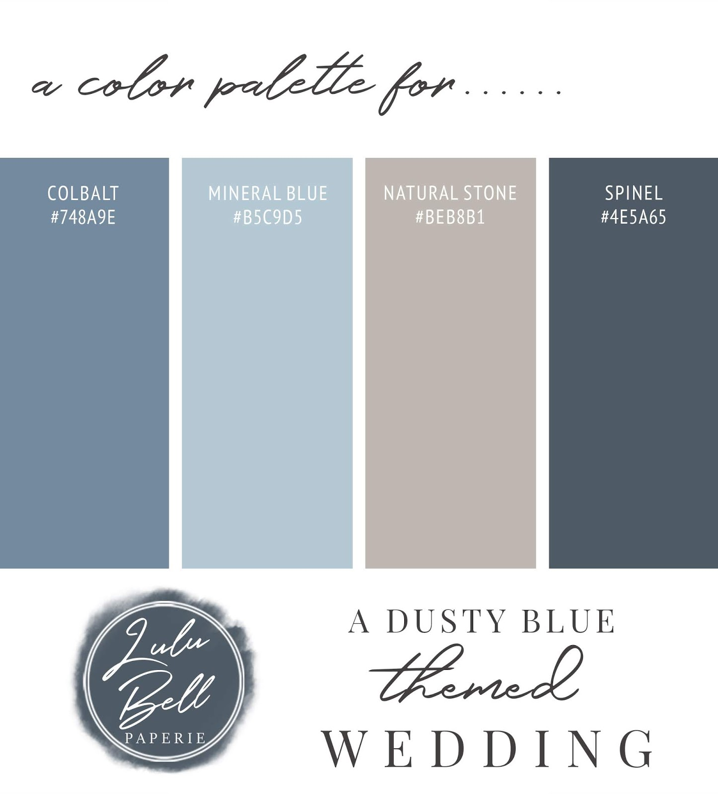 Dusty Blue Navy and Gray Wedding Color Palette Swatch Card : Cobalt, Mineral Blue, Natural Stone, and Spinel Blue