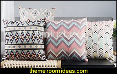 Geometric Country Linen Pillow Covers