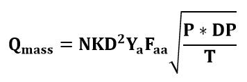 Fórmula o ecuación del caudal másico estimada por el tubo Annubar