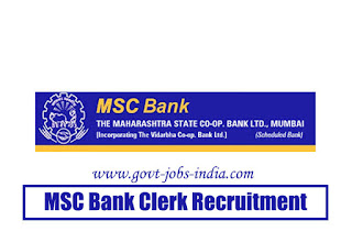 MSC Bank Clerk Recruitment 2020