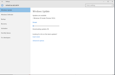 windows update downloading inside preview 14332