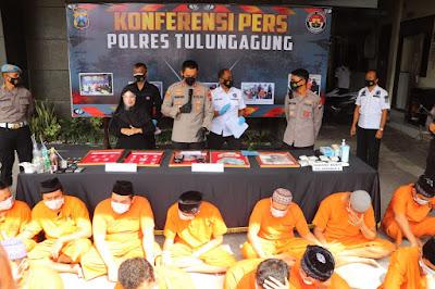 338 Gram Sabu, 104 Pelaku, dan 86 Kasus Berhasil Diungkap Satresnarkoba Polres Tulungagung