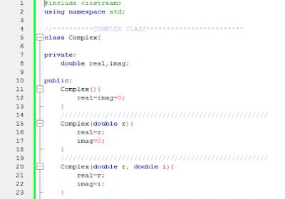 complex number c++ code