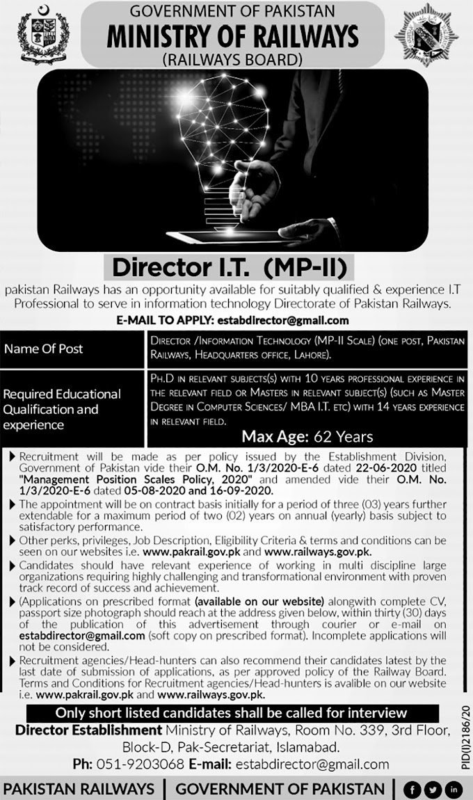 JOBS | Director IT & Assistant Station Master Pakistan Railways